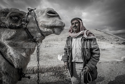 Bedouin man with camel (Editorial use only)
