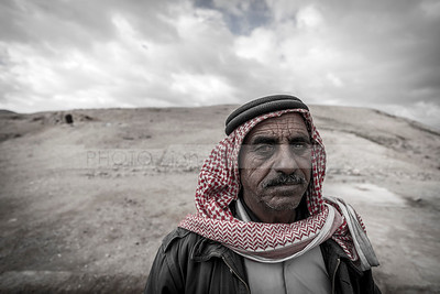 Bedouin man in the desert (Editorial use only)