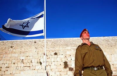 Israeli Soldier and Flag