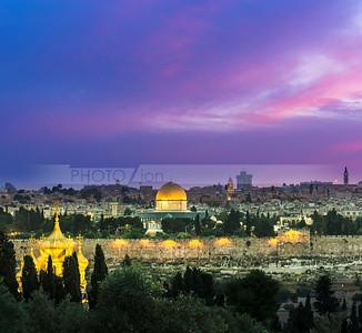 Pink sunset over Jerusalem