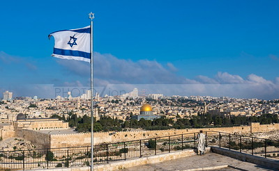 Israeli flag over Jerusalem
