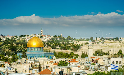 Golden Dome of the Rock and the Old City roofs, with the view of the Mount of Olives