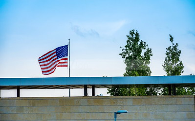 American flag on top of the US embassy in Jerusalem
