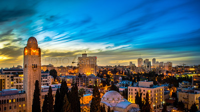 YMCA and the West Jerusalem in sunset