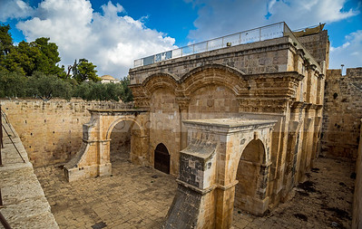 Jerusalem Golden Gate, also called Mercy Gate - view from the Temple Mount