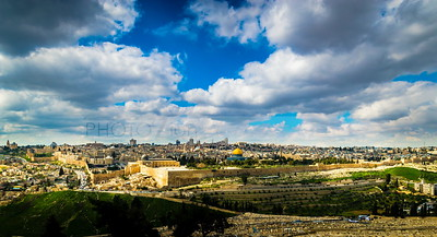 Clouds over the Old City Jerusalem, view from the Mount of Olives
