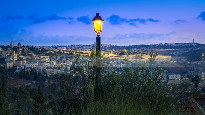 Jerusalem before sunrise with Street lamp
