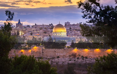 Jerusalem Temple Mount at dusk seen from Mount of Olives