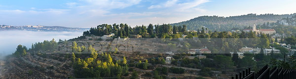 Misty morning panorama of En Karem