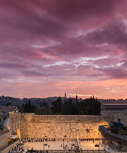 Pink sunrise over Western Wall