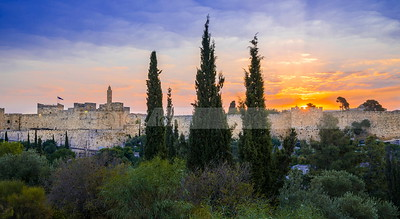 Old City and Tower of David at sunrise; Jerusalem Israel