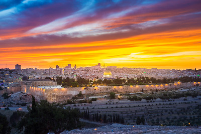 Beautiful sunset over the Old City of Jerusalem
