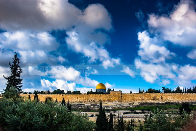 Dome of the Rock and the Golden Gate on a cloudy day