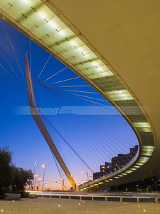 The Chords Bridge - light rail and pedestrian bridge at the entrance to Jerusalem