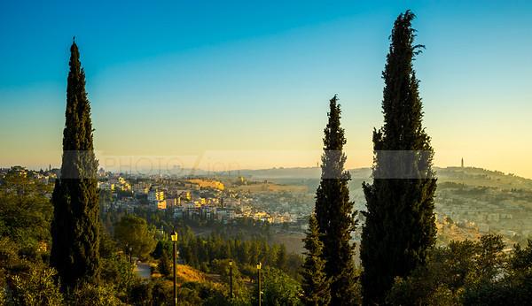 Old City Jerusalem and the Abu Tor neighborhood at sunrise