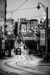 Downtown Jerusalem in black and white