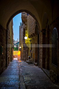 Jerusalem Old City street with a view of Mount of Olives