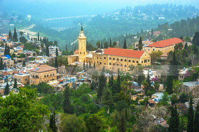 View of Ein Karem church from a hill