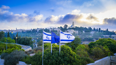 Israeli flags with Mount Zion