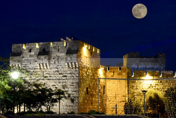 Moon over Jerusalem Walls