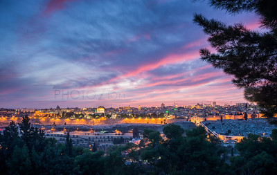 Dramatic Sunset over Jerusalem Old City and the Temple Mount