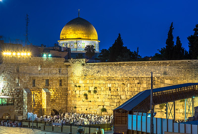 Western Wall and the Dome of the Rock before sunrise
