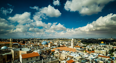 Rooftops of the Old City and the Mount of Olives on a cloudy day