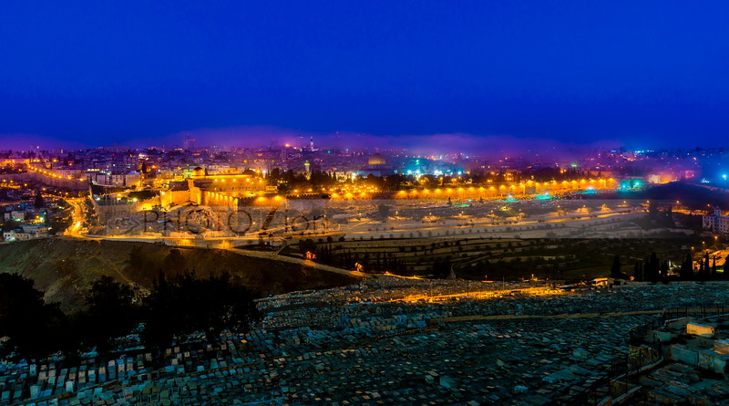 Jerusalem in pre-dawn mist