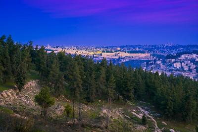 Twilight view of Old city Jerusalem
