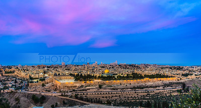 Sunrise colors over Jerusalem