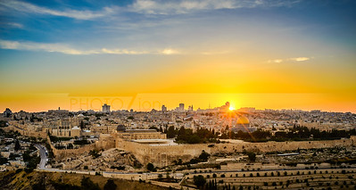 Sunset over the Old City Jerusalem