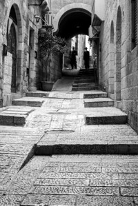 Street in the Old City in black and white