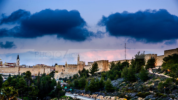 Jerusalem Jaffa Gate on a cloudy day