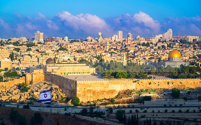 Jerusalem Temple Mount with Israeli flag
