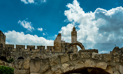 Tower of David against cloudy sky