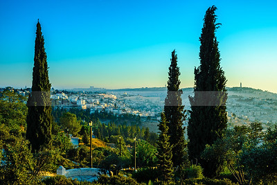 Old City Jerusalem and the Abu Tor neighborhood at sunrise