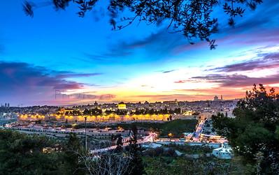 Dramatic sunset sky over Jerusalem