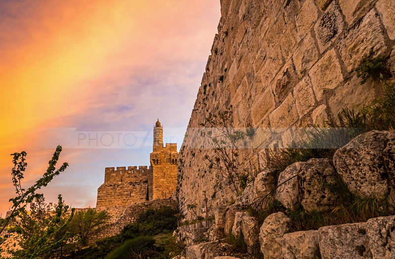 Tower of David and Jerusalem's Old City Wall at sunrise
