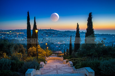 Moon over the Mount of Olives
