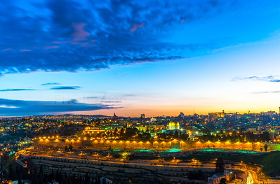 Sunset over Jerusalem, view from the Mount of Olives