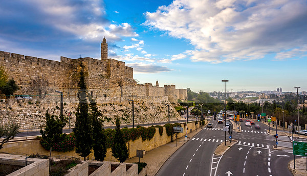 Tower of David and road along Old City walls, Jerusalem