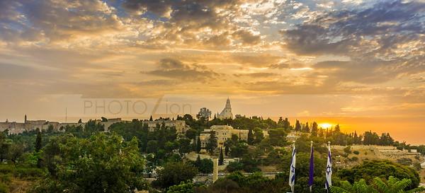 Mount Zion and Old City Jerusalem at sunrise