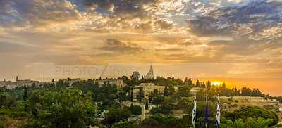 Mount Zion and Old City Jerusalem at sunrise