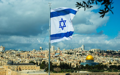 Israeli flag flying over Jerusalem