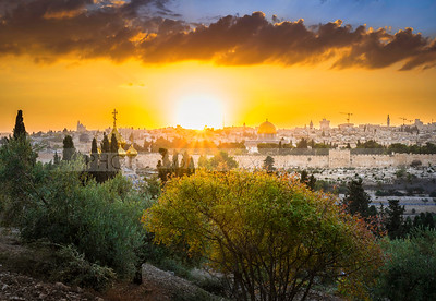 Fall sunset in Jerusalem