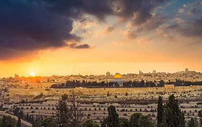Old Ciry Jerusalem with beautiful sunset clouds