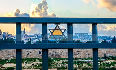 Star of David on metal fence overlooking Jerusalem