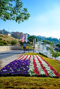 Flower bed representing an American flag on the road to the new US embassy in Jerusalem