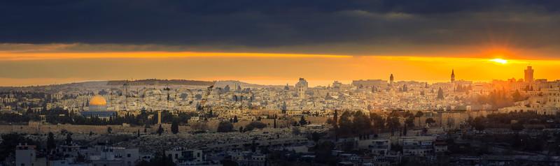 Jerusalem panorama with sunset