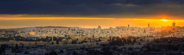 Jerusalem panorama with sunset